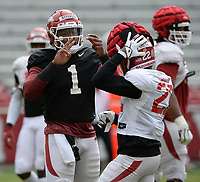 Arkansas quarterback KJ Jefferson speaks Saturday, April 3, 2021, with running back Trelon Smith (22) during a scrimmage at Razorback Stadium in Fayetteville. Visit nwaonline.com/210404Daily/ for today's photo gallery. <br /> (NWA Democrat-Gazette/Andy Shupe)