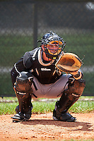 GCL Marlins catcher James Lovett (43) in the bullpen during the second game of a doubleheader against the GCL Cardinals on August 13, 2016 at Roger Dean Complex in Jupiter, Florida.  GCL Cardinals defeated GCL Marlins 2-0.  (Mike Janes/Four Seam Images)