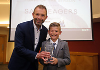Pictured: Goalkeeper save of the year award winner Samuel Seagers (R) Saturday 27 May 2017<br /> Re: Swansea City FC Academy Awards Evening at the Liberty Stadium, Wales, UK