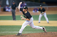 Wake Forest Demon Deacons relief pitcher Chris Farish (32) delivers a pitch to the plate against the Clemson Tigers at David F. Couch Ballpark on March 12, 2016 in Winston-Salem, North Carolina.  The Tigers defeated the Demon Deacons 6-5.  (Brian Westerholt/Four Seam Images)