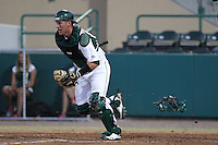 South Florida Bulls catcher Chris Norton #31 fields a bunt during a game against the Illinois State Redbirds at the USF Baseball Complex on March 14, 2012 in Tampa, Florida.  South Florida defeated Illinois State 10-5.  (Mike Janes/Four Seam Images)