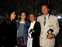 Montreal (Qc) CANADA -Sept 1993 File Photo - Left to right :<br /> Unknown, Marianne Coquelicot Mercier, actress<br /> Paule Baillargeon (M), director of LE SEXE DES ETOILES,<br /> ( The Sex of the Stars ), Denis Mercier, actor<br /> won 2 awards at the 1993<br />  Montreal's  World Film Festival