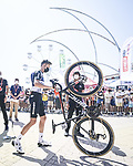Team Qhubeka-NextHash arrive at sign on before the start of Stage 7 of La Vuelta d'Espana 2021, running 152km from Gandia to Balcon de Alicante, Spain. 20th August 2021.     <br /> Picture: Unipublic/Charly Lopez | Cyclefile<br /> <br /> All photos usage must carry mandatory copyright credit (© Cyclefile | Charly Lopez/Unipublic)