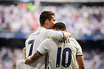 Real Madrid's Cristiano Ronaldo and James Rodriguez celebrating a goal during La Liga match between Real Madrid and Sevilla FC at Santiago Bernabeu Stadium in Madrid, May 14, 2017. Spain.<br /> (ALTERPHOTOS/BorjaB.Hojas)