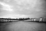 Due to  hurricanes Katrina and Rita and the devastation to homes that they caused, FEMA has set up temporary housing at several newly constructed trailer parks. The one in Baker, LA contains 573 trailers, with an estimated 2 people per trailer.. Trailers in rows fill the dusty lot of Baker, LA.