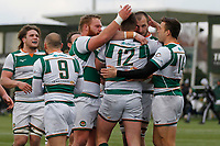 TRY - Harry Sloan of Ealing Trailfinders is congratulated during the Championship Cup Quarter Final match between Ealing Trailfinders and Nottingham Rugby at Castle Bar , West Ealing , England  on 2 February 2019. Photo by Carlton Myrie / PRiME Media Images.