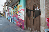 Empty house marked by campaigners as number 30 of 75,000 left vacant in Malaga, Spain.