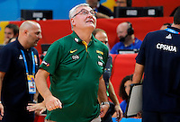 Lithuania's national basketball team head coach Jonas Kazlauskas during European championship semi-final basketball match between Serbia and Lithuania on September 18, 2015 in Lille, France  (credit image & photo: Pedja Milosavljevic / STARSPORT)