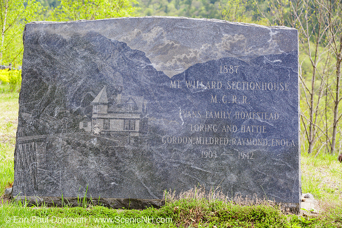 May 2016 - Vandalism done to the monument at the Mt. Willard Section House. It was recently discovered that vandals scratched the Evans family out of the monument. The Willard Section House site is located along the old Maine Central Railroad, next to the Willey Brook Trestle, in Crawford Notch. It was built in 1887 to house the section foreman and crew who  maintained Section 139 of the railroad. From 1903-1942, the Hattie Evans family lived at the house. And it was razed in 1972.