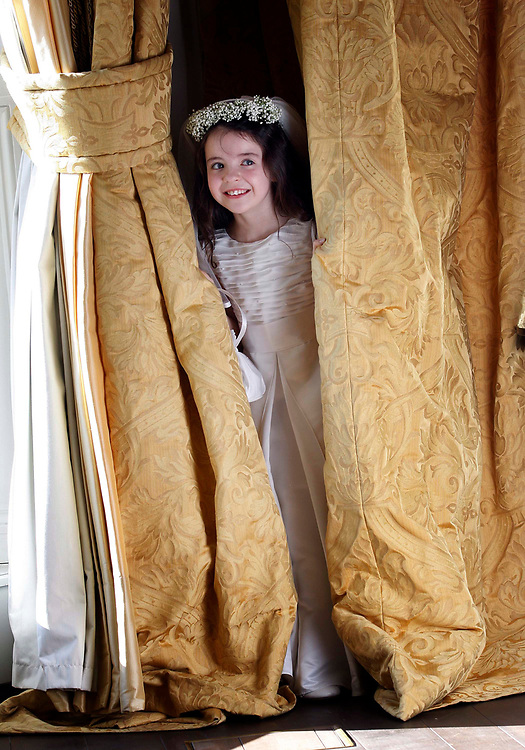 Sophie Moloney, age 7 from Rathfarnham, Dublin, pictured here at the launch of the Marks & Spencer Communion collection held in the Shelbourne Hotel, Dublin. Pic. Robbie Reynolds.