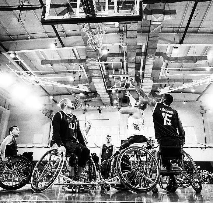 David Eng, Lima 2019 - Wheelchair Basketball // Basketball en fauteuil roulant.<br /> Men's wheelchair basketball takes on Colombia in the semifinal game // Le basketball en fauteuil roulant masculin affronte la Colombie en demi-finale. 30/08/2019.