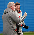 16.01.2020 Rangers training: Steven Gerrard laughing with Malky Thomson