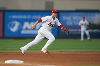 Palm Beach Cardinals third baseman Nolan Gorman (18) during a Florida State League game against the Clearwater Threshers on August 9, 2019 at Roger Dean Chevrolet Stadium in Jupiter, Florida.  Palm Beach defeated Clearwater 3-0 in the second game of a doubleheader.  (Mike Janes/Four Seam Images)
