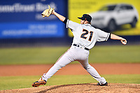 Delmarva Shorebirds pitcher Gray Fenter (21) delivers a pitch during a game against the Asheville Tourists at McCormick Field on May 4, 2019 in Asheville, North Carolina. The Shorebirds defeated the Tourists 4-0. (Tony Farlow/Four Seam Images)