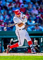 30 July 2017: Washington Nationals first baseman Ryan Zimmerman connects for his second home run of the game, a solo shot to right center in the 7th inning, against the Colorado Rockies at Nationals Park in Washington, DC. With the homer Zimmerman adds to his lead as Washington's all-time home run leader, having passed Frank Howard with his 238th career longball in the 3rd inning. The Rockies defeated the Nationals 10-6 in the second game of their 3-game weekend series. Mandatory Credit: Ed Wolfstein Photo *** RAW (NEF) Image File Available ***