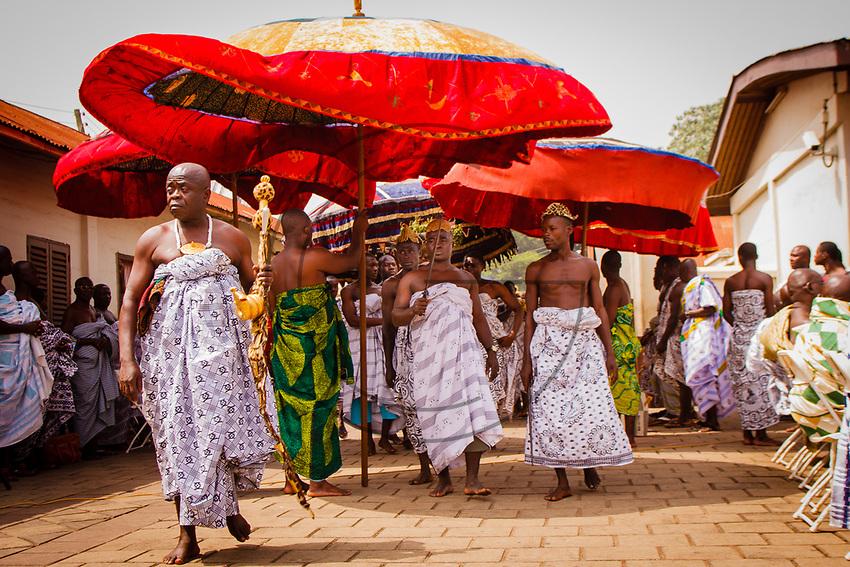 Africa, Ghana, Kumasi Ashanti King Otunfuoosu II royal cortege