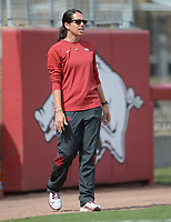 Arkansas coach Courtney Deifel directs her players Saturday, Oct. 9, 2021, during play against Butler Community College at Bogle Park in Fayetteville. Visit nwaonline.com/211010Daily/ for today's photo gallery.<br /> (NWA Democrat-Gazette/Andy Shupe)