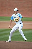 North Carolina Tar Heels starting pitcher Max Alba (28) in action against the North Carolina State Wolfpack at Boshamer Stadium on March 27, 2021 in Chapel Hill, North Carolina. (Brian Westerholt/Four Seam Images)
