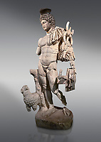 Roman statue of Hermes. Marble. Perge. 2nd century AD. Inv no . Antalya Archaeology Museum; Turkey.<br /> <br /> Hermes is the god of trade, heraldry, merchants, commerce, roads, sports, travelers, and athletes in Ancient Greek religion and mythology; the son of Zeus and the Pleiad Maia, he was the second youngest of the Olympian gods