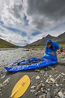 Packrafting the Matthews river in June, Arctic, Alaska