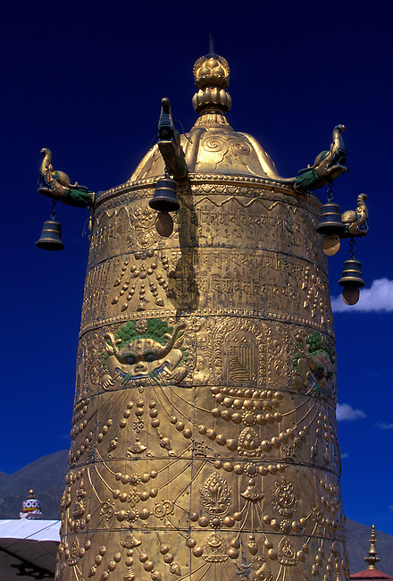 Gilded roof ornament at Jokhang Temple, Lhasa, Tibet, Tibetan Autonomous Region, China