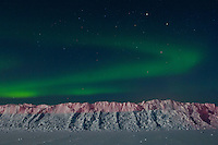 Arctic circle, The northern lights in Bettles, Alaska, considered one of the coldest places on the planet.