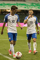 Mexico City, Mexico - Saturday June 10, 2017: Christian Pulisic and Paul Arriola     during a 2018 FIFA World Cup Qualifying Final Round match between the men's national teams of the United States (USA) and Mexico (MEX) at Azteca Stadium.