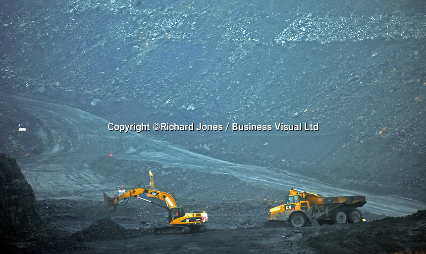 Open cast mining Coal, Merthyr Tydfil, Wales, UK