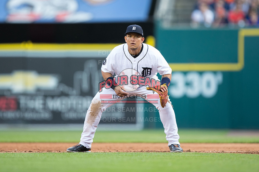Detroit Tigers first baseman Miguel Cabrera (24) on defense against the Chicago White Sox at Comerica Park on June 2, 2017 in Detroit, Michigan.  The Tigers defeated the White Sox 15-5.  (Brian Westerholt/Four Seam Images)