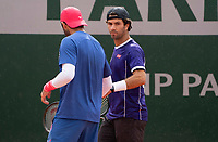 Paris, France, 04 ,10,  2020, Tennis, French Open, Roland Garros, Men's doubles Jean Julien Rojer (NED) (R) and Horia Tecau (ROU)<br /> Photo: Susan Mullane/tennisimages.com