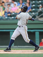 Outfielder DeAngelo Mack (11) of the Charleston RiverDogs, Class A affiliate of the New York Yankees, in a game against the Greenville Drive on May 27, 2010, at Fluor Field at the West End in Greenville, S.C. Photo by: Tom Priddy/Four Seam Images