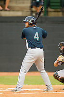 Matt Browning #4 of the Pulaski Mariners at bat against the Bristol White Sox at Boyce Cox Field August 28, 2010, in Bristol, Tennessee.  Photo by Brian Westerholt / Four Seam Images