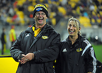MC Greg Ellis and event co-ordinator Mel Winter during the Super Rugby match between the Hurricanes and Southern Kings at Westpac Stadium, Wellington, New Zealand on Friday, 25 March 2016. Photo: Dave Lintott / lintottphoto.co.nz