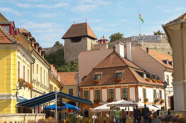 Eger Castle and Sentor Hotel and cafe restaurant from Dobo Square in the summer - Eger- Hungary