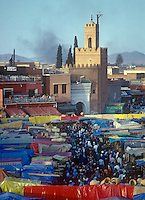 Overview of people and central market place in the Moroccan city of Marrakech