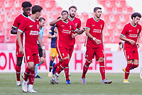 25th August 2020, Red Bull Arena, Slazburg, Austria; Pre-season football friendly, Red Bull Salzburg versus Liverpool FC;  Liverpool elebrate their goal for 2:2 from Rhian Brewster