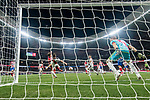 Antoine Griezmann of Atletico de Madrid scores for the team during the La Liga 2018-19 match between Atletico de Madrid and Rayo Vallecano at Wanda Metropolitano on August 25 2018 in Madrid, Spain. Photo by Diego Souto / Power Sport Images