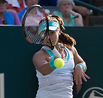 Lauren Davis (USA) defeats Eugenie Bouchard (CAN) 6-4, 6-1 at the Family Circle Cup in Charleston, South Carolina on April 8, 2015.