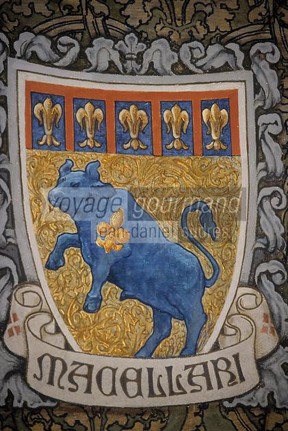 Europe/Italie/Emilie-Romagne/Bologne : Mur peint de la Chambre de Commerce représentant les corps de métier