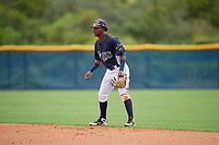 GCL Rays second baseman Abiezel Ramirez (2) during a Gulf Coast League game against the GCL Pirates on August 7, 2019 at Charlotte Sports Park in Port Charlotte, Florida.  GCL Rays defeated the GCL Pirates 5-3 in the second game of a doubleheader.  (Mike Janes/Four Seam Images)