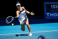 10th February 2021, Melbourne, Victoria, Australia; Bianca Andreescu of Canada returns the ball during round 2 of the 2021 Australian Open on February 10 2020, at Melbourne Park in Melbourne, Australia.
