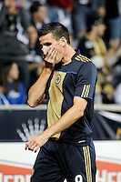 Sebastien Le Toux (9) of the Philadelphia Union reacts to a missed scoring opportunity. The Los Angeles Galaxy defeated the Philadelphia Union  1-0 during a Major League Soccer (MLS) match at PPL Park in Chester, PA, on October 07, 2010.