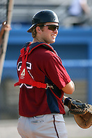 July 4th 2008:  Catcher Tyler Hauschild of the Hudson Valley Renegades, Class-A affiliate of the Tampa Bay Rays, during a game at Dwyer Stadium in Batavia, NY.  Photo by:  Mike Janes/Four Seam Images