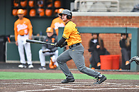 Appalachian State Mountaineers designated hitter Hayden Cross (35) swings at a pitch during a game against the Tennessee Volunteers at Lindsey Nelson Stadium on February 16, 2019 in Knoxville, Tennessee. The Volunteers defeated Mountaineers 2-0. (Tony Farlow/Four Seam Images)