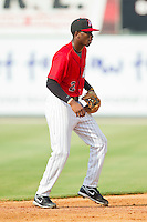 Tim Anderson (2) of the Kannapolis Intimidators on defense against the Greenville Drive at CMC-Northeast Stadium on June 29, 2013 in Kannapolis, North Carolina.  The Intimidators defeated the Drive 9-3 in the completion of the game that began on June 28, 2013.   (Brian Westerholt/Four Seam Images)