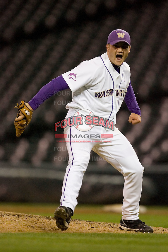 April 4, 2008: University of Washington junior Nick Haughian celebrates his 2-hit complete game shutout against the University of Arizona at Safeco Field in Seattle, Washington.