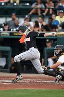Jupiter Hammerheads third baseman Brian Anderson (9) at bat during a game against the Bradenton Marauders on April 18, 2015 at McKechnie Field in Bradenton, Florida.  Bradenton defeated Jupiter 4-1.  (Mike Janes/Four Seam Images)