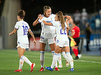 31st August 2021; Estadio Afredo Di Stefano, Madrid, Spain; Women's Champions League, Real Madrid CF versus Manchester City Football Club; Athenea and and Moller celebrating the 1-1 goal scored in the last minute