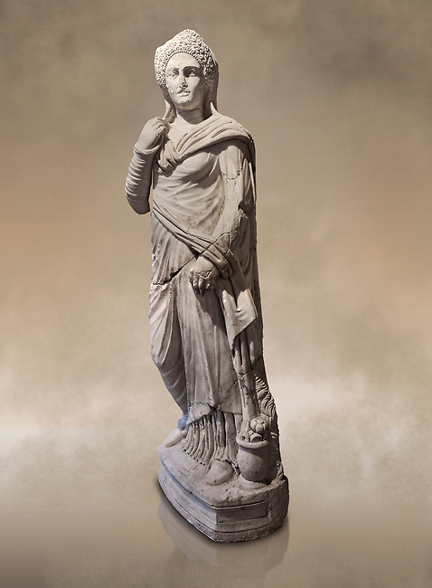 Roman statue of Demiougous, 2nd century AD from Hierapolis. Hierapolis Archaeology Museum, Turkey. Against an art background