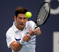 MIAMI GARDENS, FLORIDA - MARCH 26: Roberto Bautista Agut of Spain defeats Novak Djokovic of Serbia during day 9 of the Miami Open presented by Itau at Hard Rock Stadium on March 26, 2019 in Miami Gardens, Florida.<br /> <br /> People: Novak Djokovic
